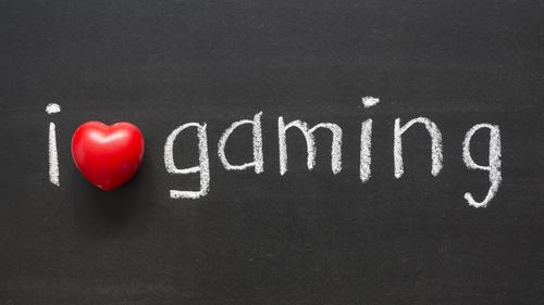 Love gaming on black board